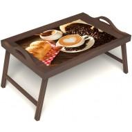 Столик для завтрака в постель «Латте-арт» с ручками цвет орех