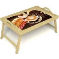 Столик для завтрака в постель «Русская берёза», «Латте-арт» с ручками цвет светлый