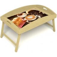 Столик для завтрака в постель «Русская берёза», «Латте-арт» с высоким бортиком цвет светлый