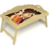 Столик для завтрака в постель «Русская берёза», «Латте-арт» с фигурным бортиком цвет светлый
