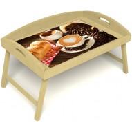 Столик для завтрака в постель «Русская берёза», «Латте-арт» с 3-мя высокими бортиками цвет светлый