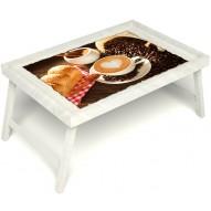 Столик для завтрака в постель «Русская берёза», «Латте-арт» без ручек цвет белый