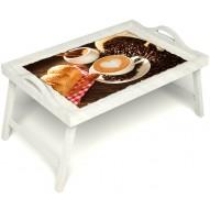 Столик для завтрака в постель «Латте-арт» с ручками цвет белый