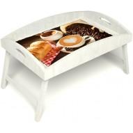 Столик для завтрака в постель «Русская берёза», «Латте-арт» с высоким бортиком цвет белый