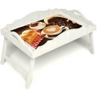 Столик для завтрака в постель «Русская берёза», «Латте-арт» с фигурным бортиком цвет белый