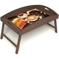 Столик для завтрака в постель «Русская берёза», «Латте-арт» с высоким бортиком цвет орех