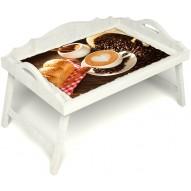 Столик для завтрака в постель «Русская берёза», «Латте-арт» с 3-мя фигурными бортиками цвет белый