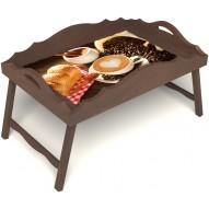 Столик для завтрака в постель «Русская берёза», «Латте-арт» с фигурным бортиком цвет орех