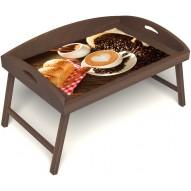 Столик для завтрака в постель «Русская берёза», «Латте-арт» с 3-мя высокими бортиками цвет орех
