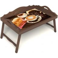 Столик для завтрака в постель «Латте-арт» с 3-мя фигурными бортиками цвет орех