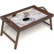 Столик для завтрака в постель «Романтика утра» с ручками цвет орех