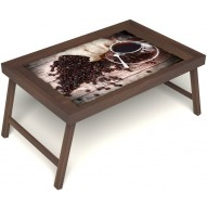 Столик для завтрака в постель «Русская берёза», «Утренний кофе» без ручек цвет орех