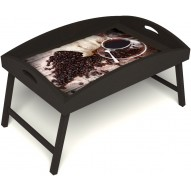 Столик для завтрака в постель «Русская берёза», «Утренний кофе» с высоким бортиком цвет венге