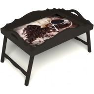 Столик для завтрака в постель «Русская берёза», «Утренний кофе» с фигурным бортиком цвет венге