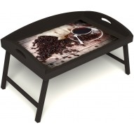 Столик для завтрака в постель «Русская берёза», «Утренний кофе» с 3-мя высокими бортиками цвет венге
