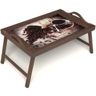 Столик для завтрака в постель «Русская берёза», «Утренний кофе» с ручками цвет орех