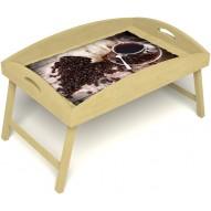 Столик для завтрака в постель «Русская берёза», «Утренний кофе» с высоким бортиком цвет светлый