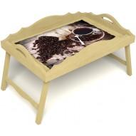 Столик для завтрака в постель «Русская берёза», «Утренний кофе» с фигурным бортиком цвет светлый