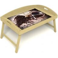 Столик для завтрака в постель «Русская берёза», «Утренний кофе» с 3-мя высокими бортиками цвет светлый