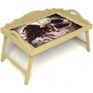 Столик для завтрака в постель «Русская берёза», «Утренний кофе» с 3-мя фигурными бортиками цвет светлый