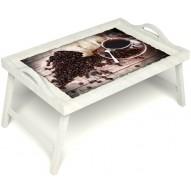 Столик для завтрака в постель «Утренний кофе» с ручками цвет белый