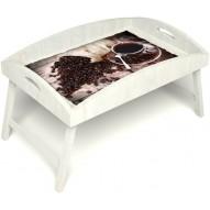 Столик для завтрака в постель «Русская берёза», «Утренний кофе» с высоким бортиком цвет белый