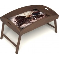 Столик для завтрака в постель «Русская берёза», «Утренний кофе» с высоким бортиком цвет орех