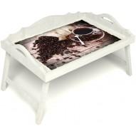 Столик для завтрака в постель «Русская берёза», «Утренний кофе» с 3-мя фигурными бортиками цвет белый
