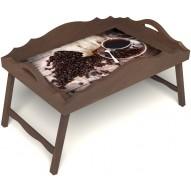 Столик для завтрака в постель «Русская берёза», «Утренний кофе» с фигурным бортиком цвет орех