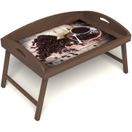 Столик для завтрака в постель «Русская берёза», «Утренний кофе» с 3-мя высокими бортиками цвет орех