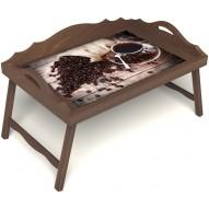 Столик для завтрака в постель «Утренний кофе» с 3-мя фигурными бортиками цвет орех