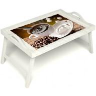 Столик для завтрака в постель «За секунду до» с ручками цвет белый