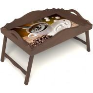 Столик для завтрака в постель «Русская берёза», «За секунду до» с фигурным бортиком цвет орех