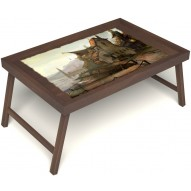 Столик для завтрака в постель «Рыбацкая деревенька» без ручек цвет орех