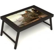 Столик для завтрака в постель «Рыбацкая деревенька» без ручек цвет венге