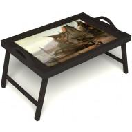 Столик для завтрака в постель «Рыбацкая деревенька» с ручками цвет венге