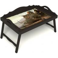 Столик для завтрака в постель «Рыбацкая деревенька» с 3-мя фигурными бортиками цвет венге