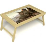 Столик для завтрака в постель «Рыбацкая деревенька» без ручек цвет светлый