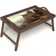 Столик для завтрака в постель «Рыбацкая деревенька» с ручками цвет орех