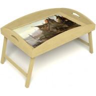 Столик для завтрака в постель «Русская берёза», «Рыбацкая деревенька» с высоким бортиком цвет светлый