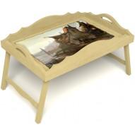 Столик для завтрака в постель «Русская берёза», «Рыбацкая деревенька» с фигурным бортиком цвет светлый