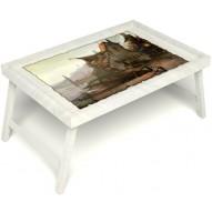 Столик для завтрака в постель «Рыбацкая деревенька» без ручек цвет белый