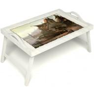 Столик для завтрака в постель «Рыбацкая деревенька» с ручками цвет белый