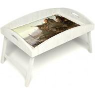 Столик для завтрака в постель «Русская берёза», «Рыбацкая деревенька» с высоким бортиком цвет белый