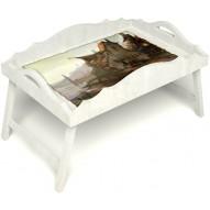 Столик для завтрака в постель «Русская берёза», «Рыбацкая деревенька» с фигурным бортиком цвет белый