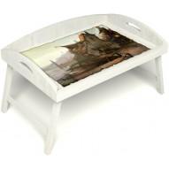 Столик для завтрака в постель «Русская берёза», «Рыбацкая деревенька» с 3-мя высокими бортиками цвет белый