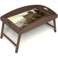 Столик для завтрака в постель «Рыбацкая деревенька» с высоким бортиком цвет орех