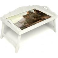 Столик для завтрака в постель «Русская берёза», «Рыбацкая деревенька» с 3-мя фигурными бортиками цвет белый