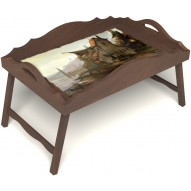 Столик для завтрака в постель «Рыбацкая деревенька» с фигурным бортиком цвет орех