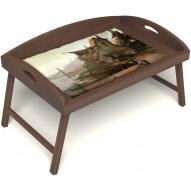 Столик для завтрака в постель «Рыбацкая деревенька» с 3-мя высокими бортиками цвет орех